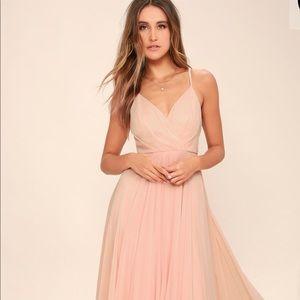 Lulu's All About Love Blush Pink Maxi Dress Large
